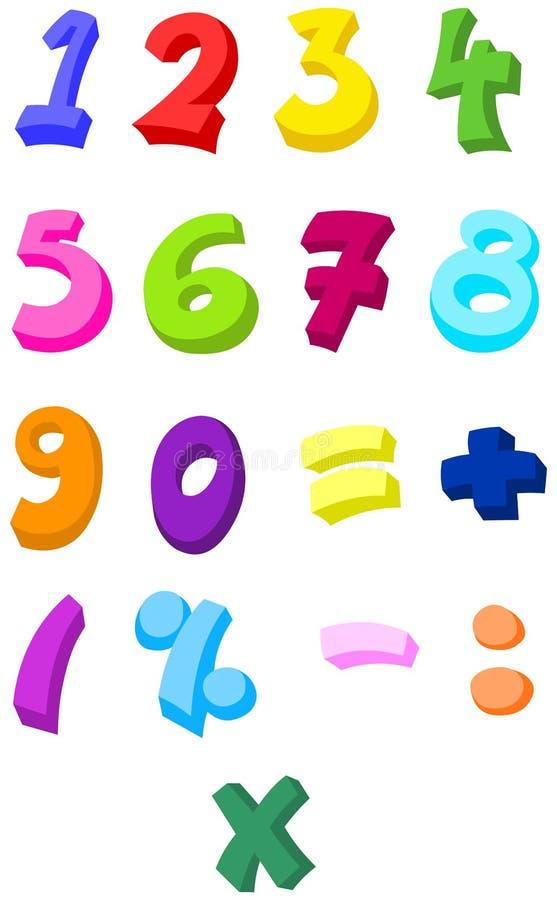 五颜六色的编号 皇族释放例证