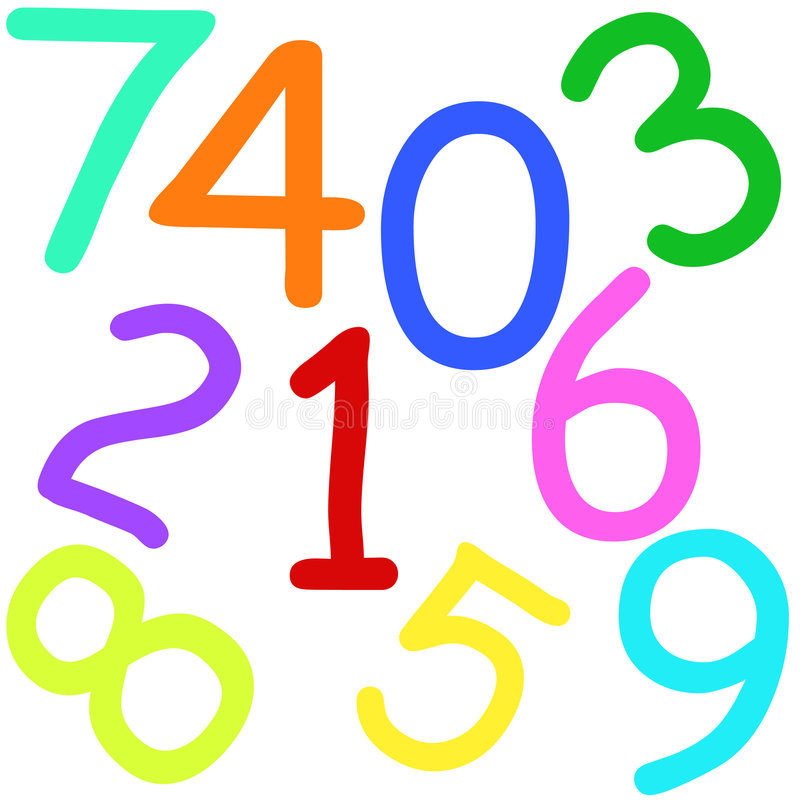 五颜六色的编号 库存例证