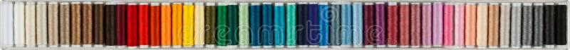 五颜六色的缝合的棉花全景 库存图片