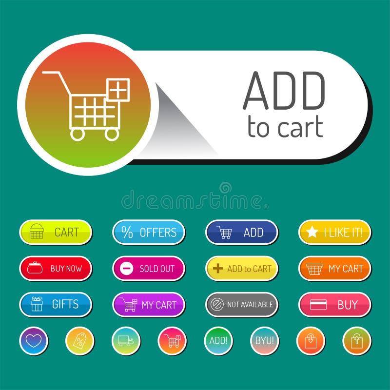 五颜六色的网站网上商店网按钮设计传染媒介例证光滑的图表标签互联网证实模板 向量例证