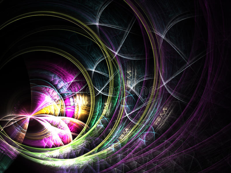 五颜六色的网,数字式分数维艺术 向量例证
