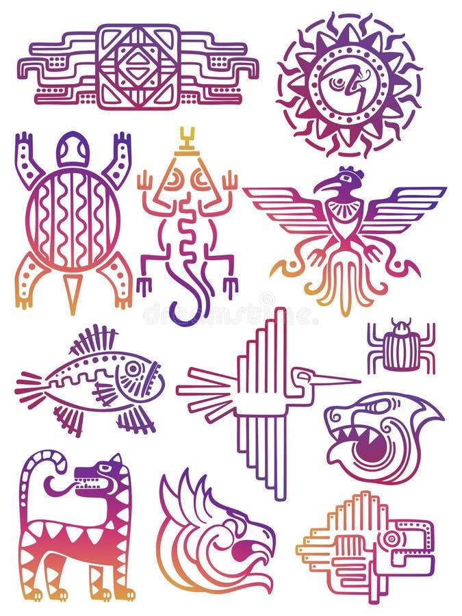 五颜六色的美国阿兹台克人,玛雅标志 向量例证