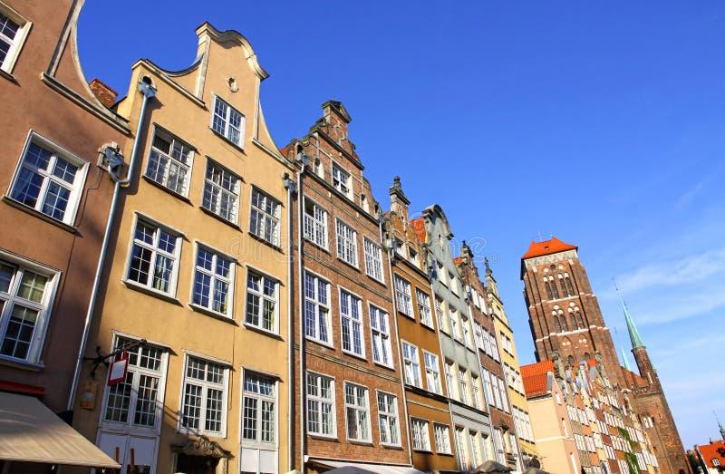 五颜六色的老大厦在市格但斯克,波兰 免版税图库摄影
