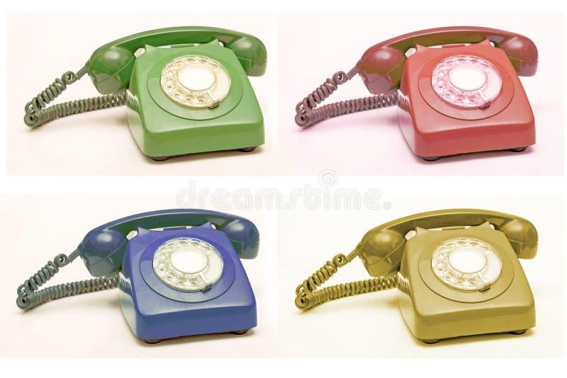五颜六色的老电话拼贴画,通信概念背景 库存照片