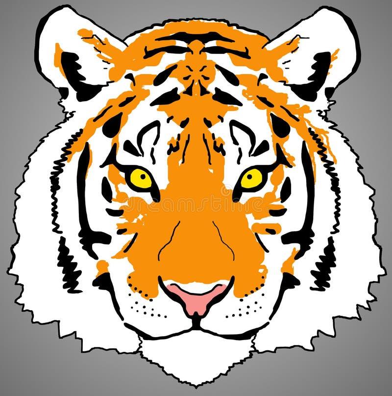 五颜六色的老虎面孔数字绘画PNG光栅设计 向量例证
