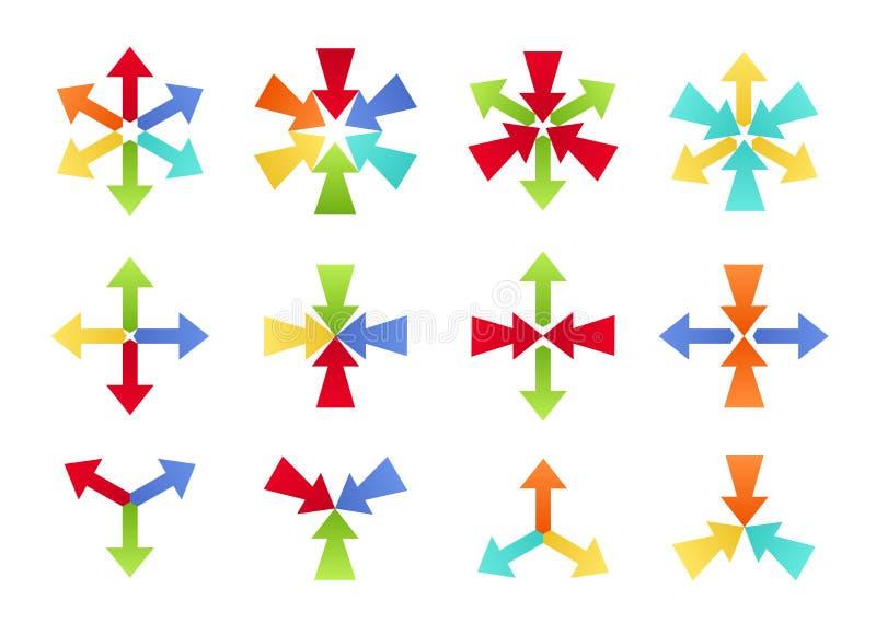 五颜六色的聚合的和分流的形状 皇族释放例证