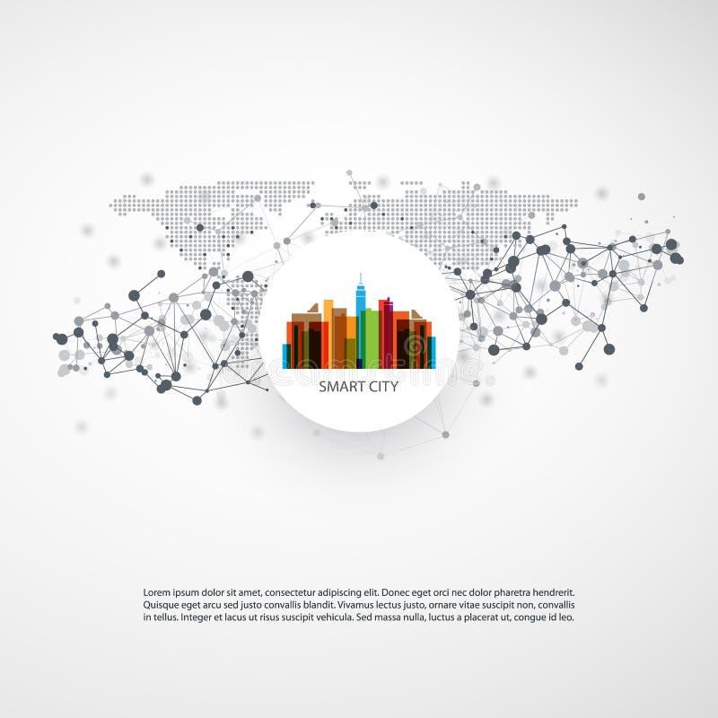 五颜六色的聪明的城市设计观念-数字网连接,技术背景 皇族释放例证
