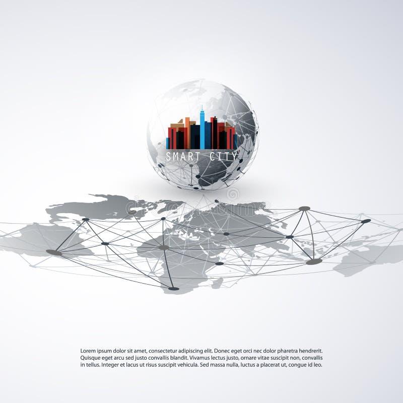 五颜六色的聪明的城市设计观念-数字网连接,技术背景 库存例证