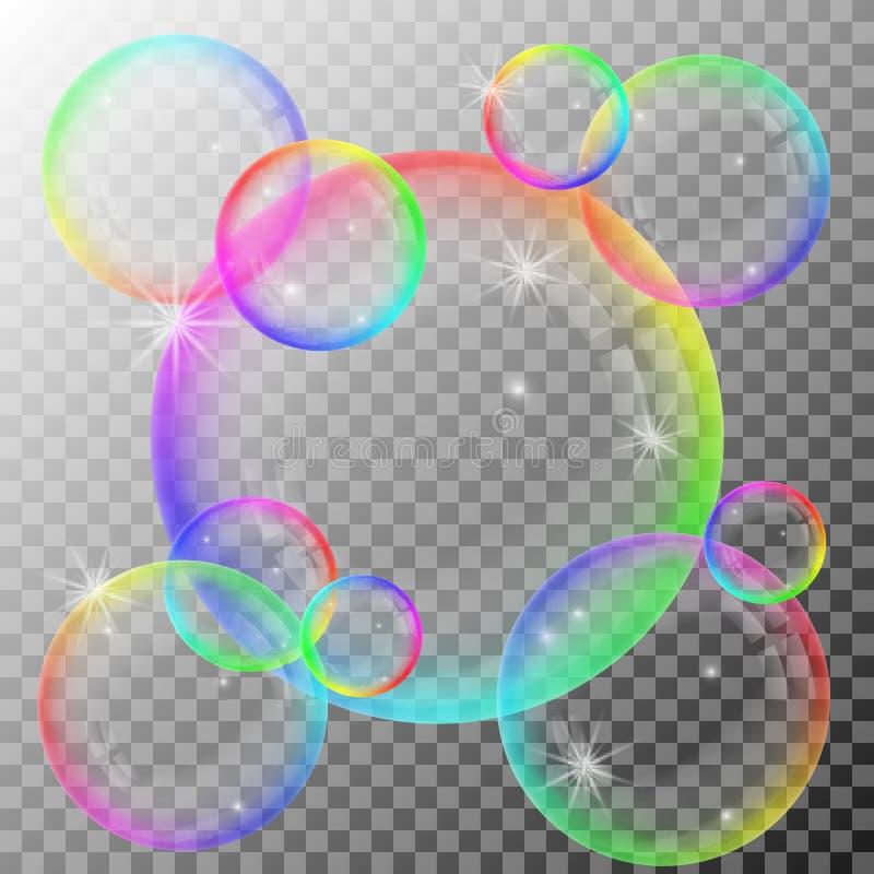 五颜六色的肥皂泡 向量例证