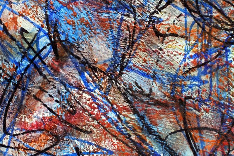 五颜六色的肮脏的背景 油漆冲程  线和斑点在纸 皇族释放例证