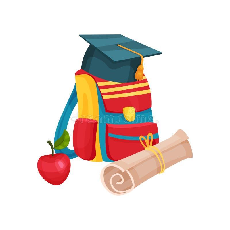 五颜六色的背包、毕业帽子、红色苹果和卷轴式记录纸的平的传染媒介例证 回到学校 皇族释放例证