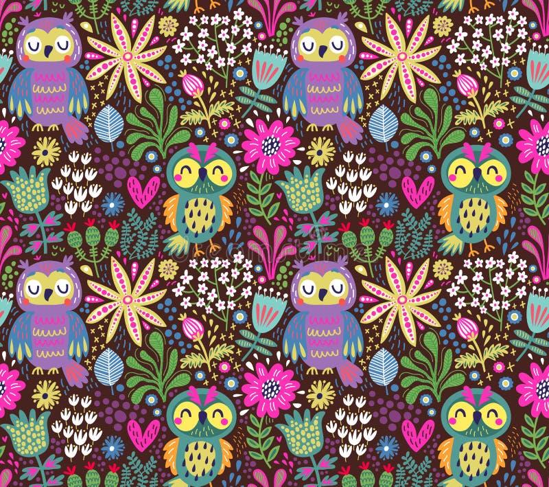五颜六色的背景、花卉,无缝的样式与花和叶子 库存例证