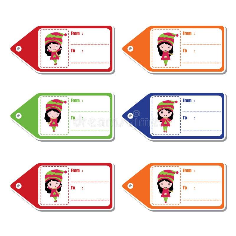 五颜六色的背景动画片例证的逗人喜爱的女孩圣诞节礼物标记的设计 免版税库存照片