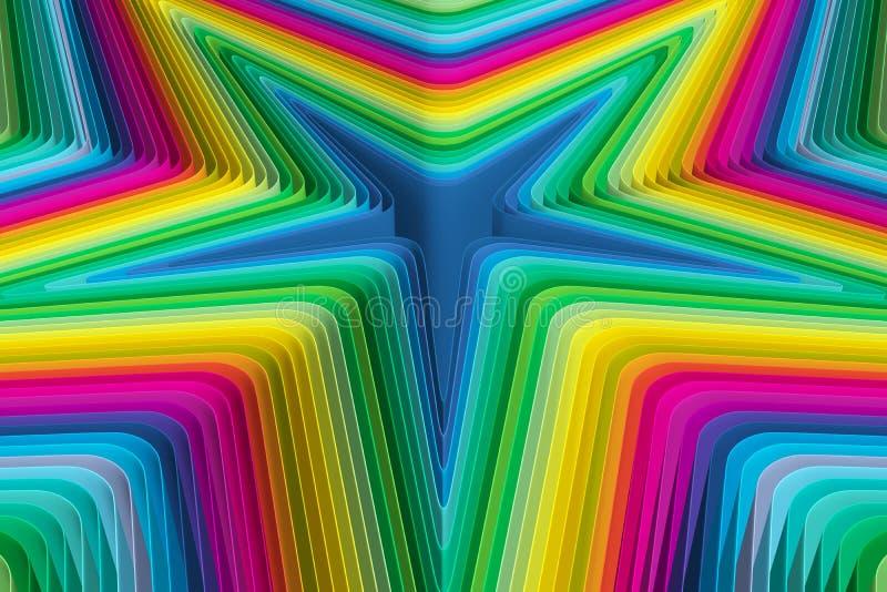 五颜六色的背景抽象星 库存例证