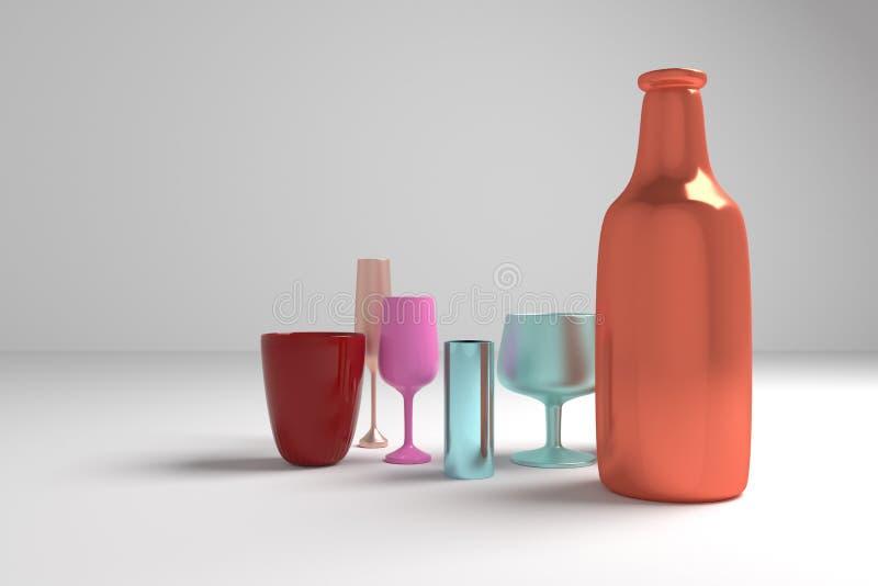 五颜六色的背景抽象CGI构成、concepture静物画瓶&玻璃设计的,图表资源 3d?? 皇族释放例证
