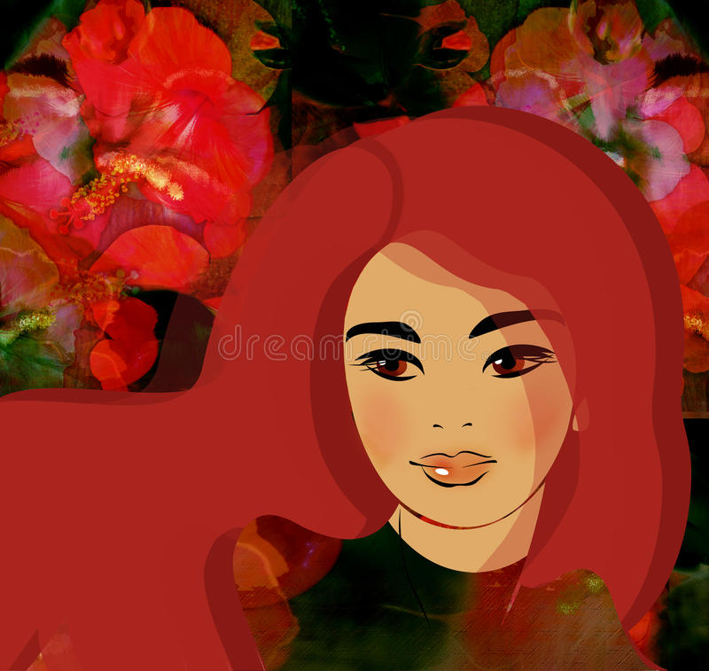 五颜六色的背景的美丽的红色头发女孩 向量例证