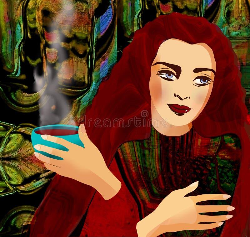 五颜六色的背景的美丽的红色头发女孩 皇族释放例证