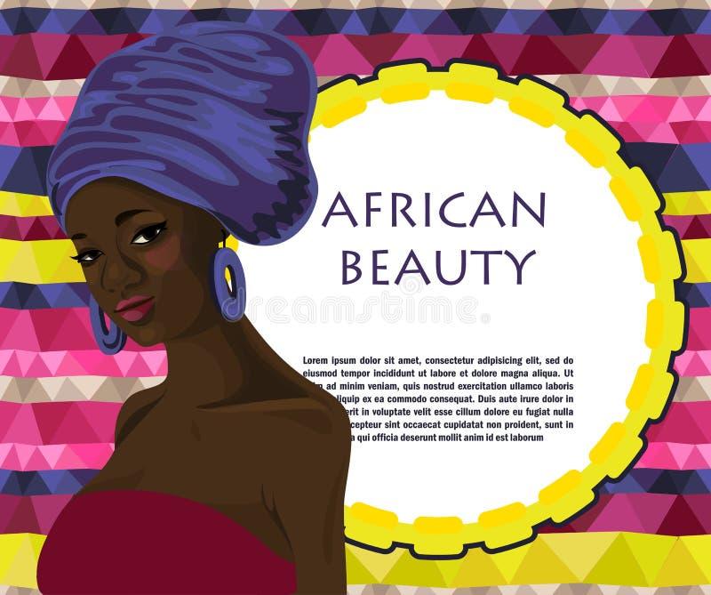 五颜六色的背景的美丽的非裔美国人的妇女 向量例证