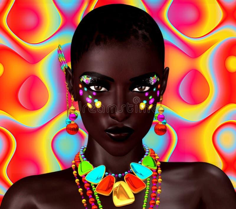 五颜六色的背景的美丽的黑人妇女 艺术和化妆用品的一张强有力的面孔 皇族释放例证