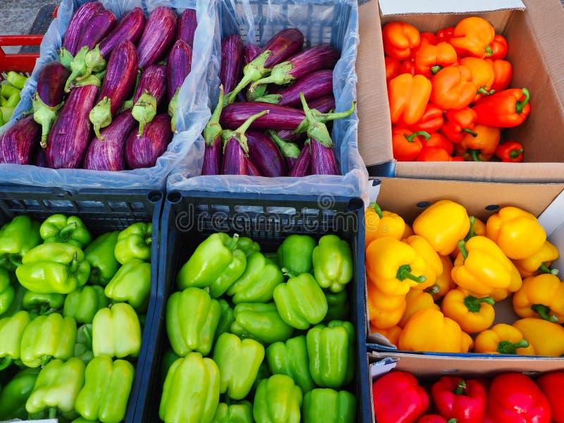 五颜六色的胡椒和茄子在果子和蔬菜批发市场 免版税库存照片
