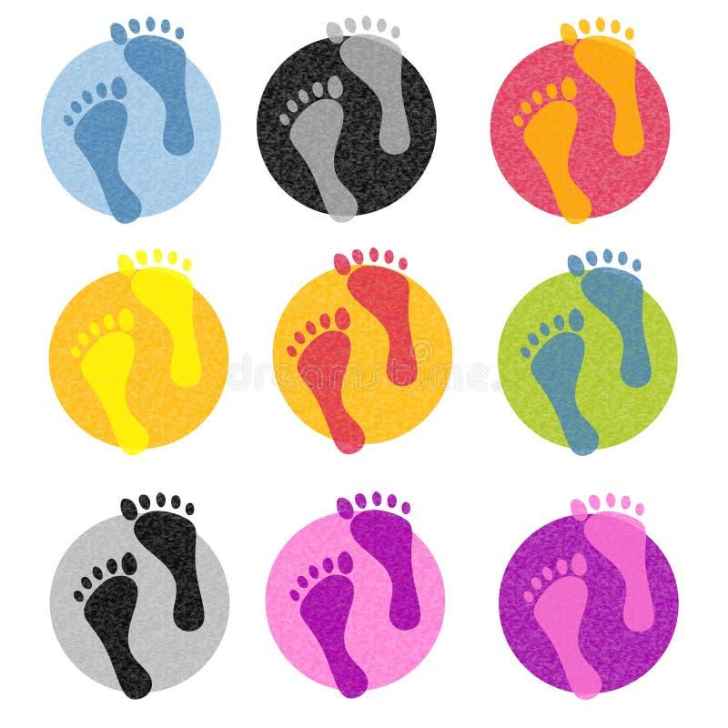 五颜六色的脚印图标 库存例证