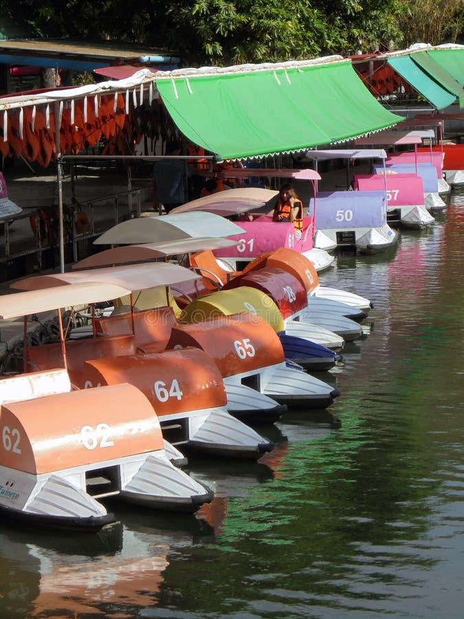 五颜六色的脚蹬小船 免版税图库摄影