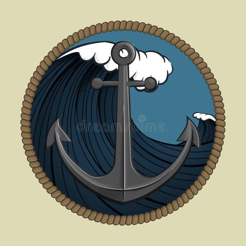 五颜六色的船锚和黑暗的波浪与圆绳索框架 库存例证