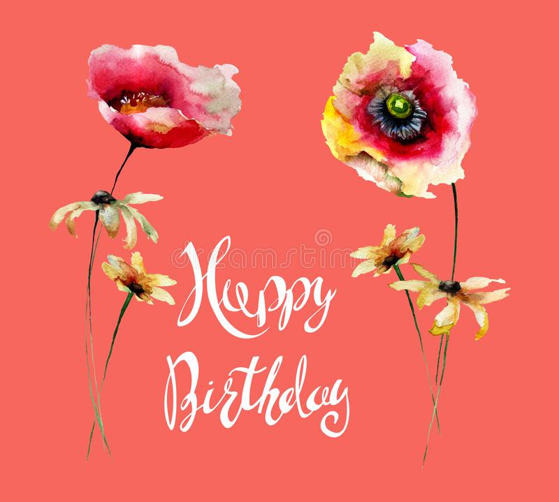 五颜六色的花与标题生日快乐 库存例证