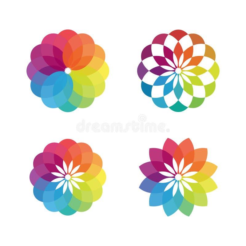 五颜六色的花传染媒介构思设计 库存例证