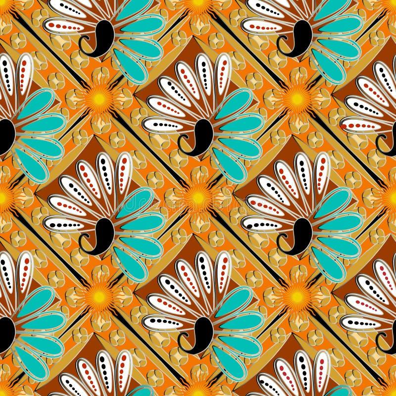五颜六色的花卉佩兹利传染媒介无缝的样式 种族样式抽象被仿造的背景 重复明亮的装饰背景 皇族释放例证
