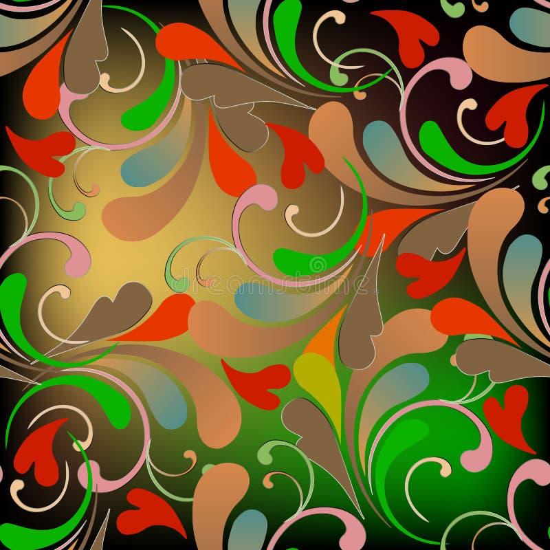 五颜六色的花卉佩兹利传染媒介无缝的样式 装饰vint 皇族释放例证