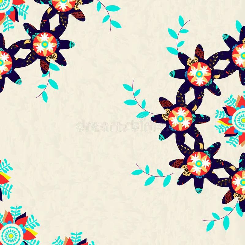 五颜六色的花卉卡片或邀请,传染媒介例证 向量例证