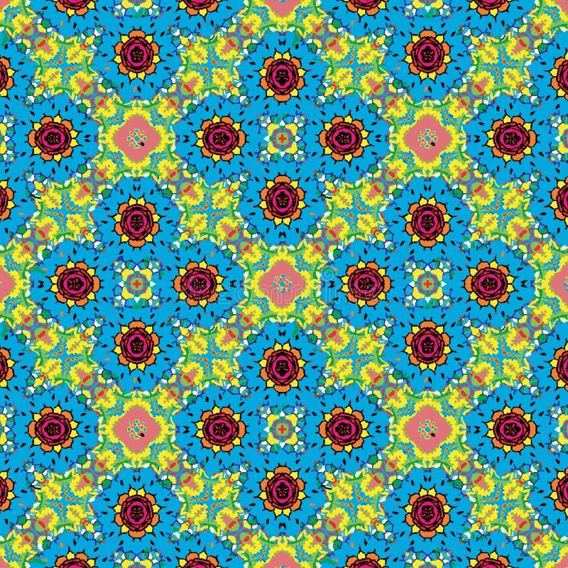 五颜六色的花卉对称重复的样式 库存例证