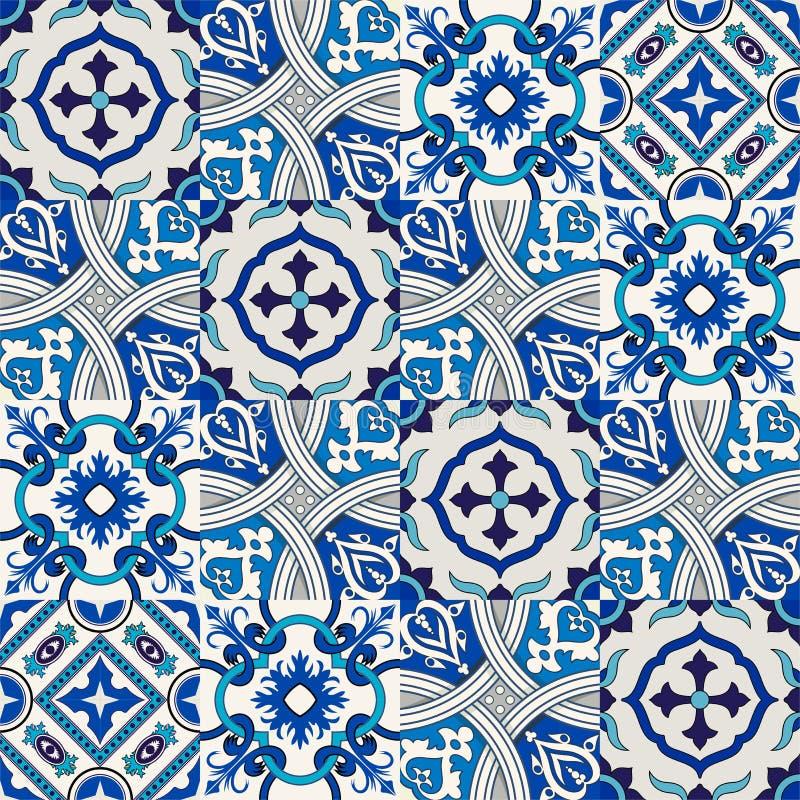 从五颜六色的花卉摩洛哥,葡萄牙瓦片, Azulejo,装饰品的无缝的样式 向量例证