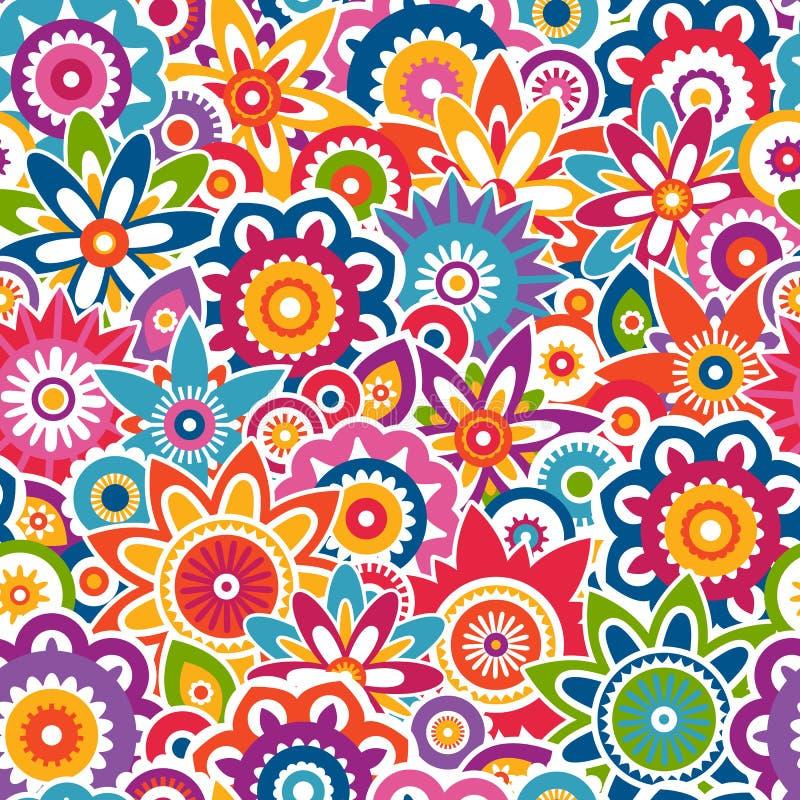 五颜六色的花卉样式。无缝的背景。 库存例证