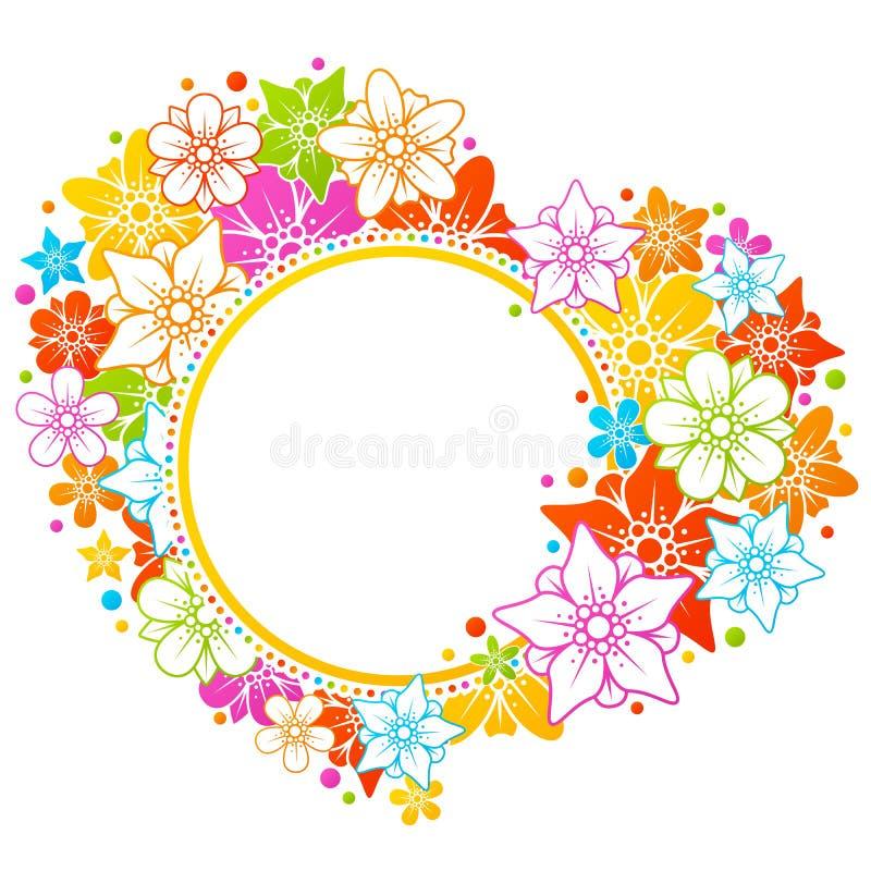 五颜六色的花卉框架 向量例证