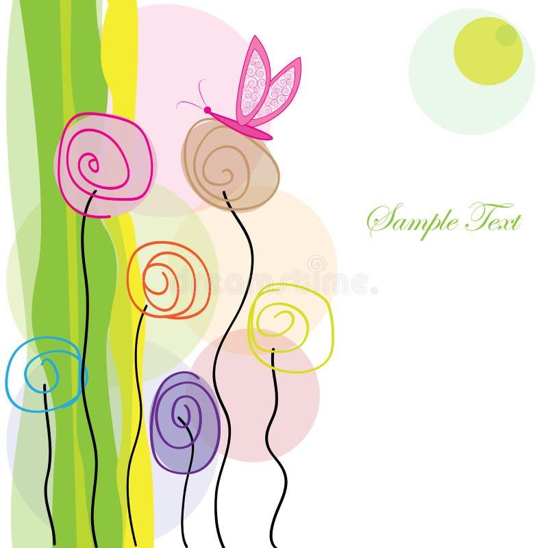 五颜六色的花和蝴蝶问候传染媒介 库存例证