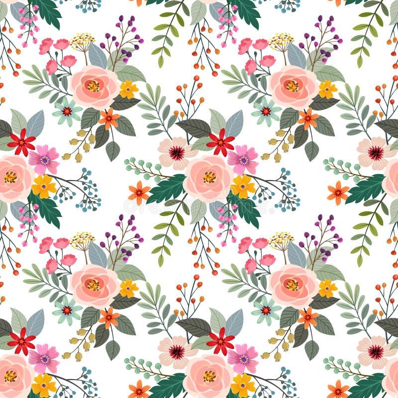 五颜六色的花无缝的样式织品纺织品 向量例证