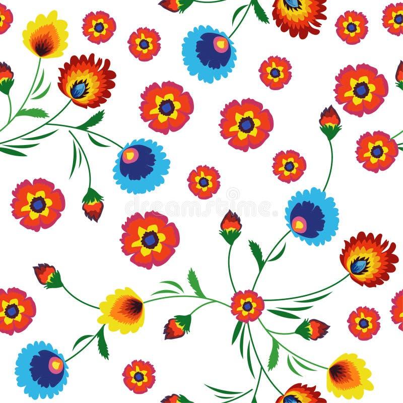 五颜六色的花无缝的样式 库存照片