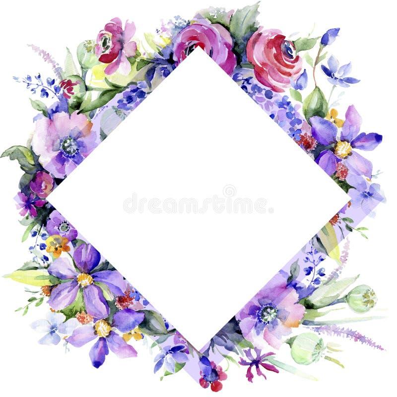 五颜六色的花束 花卉植物的花 框架边界装饰品正方形 免版税图库摄影