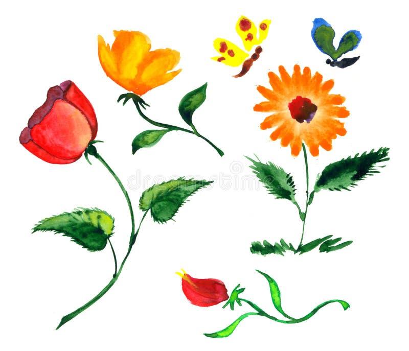 五颜六色的花水彩 向量例证