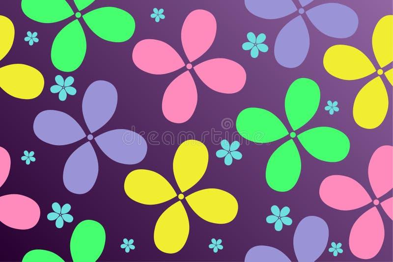 五颜六色的花的样式在梯度背景的儿童的事设计的  向量例证