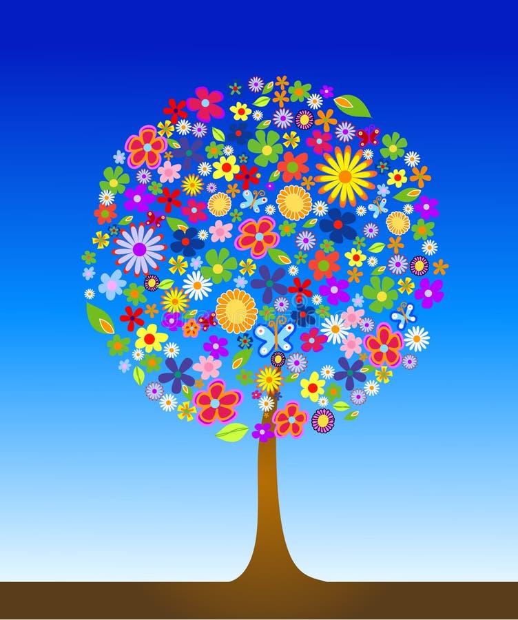 五颜六色的花结构树 皇族释放例证