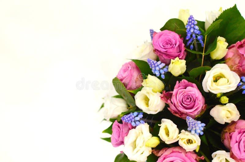 五颜六色的花美丽的花束在白色背景关闭的 免版税图库摄影