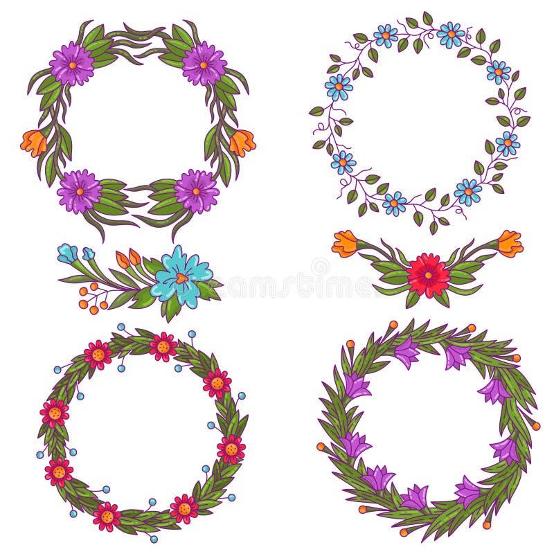 五颜六色的花花卉装饰边界构成传染媒介 向量例证