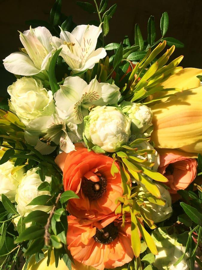 五颜六色的花花束隔绝了 混合花 美丽的夏天花束 花店的概念 Ranunnculus,德国锥脚形酒杯 库存图片