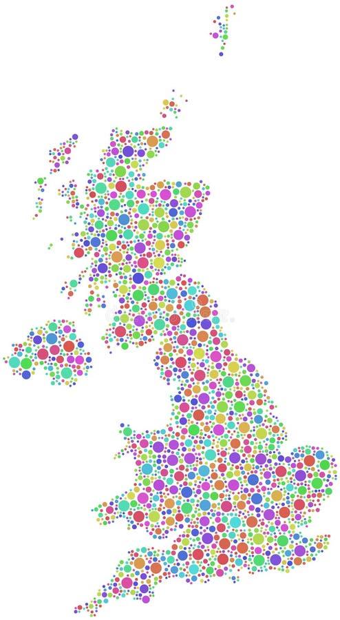 五颜六色的英国映射 向量例证