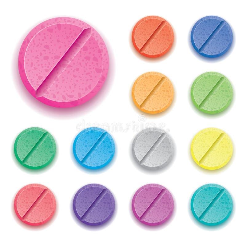 五颜六色的药物药片 库存例证