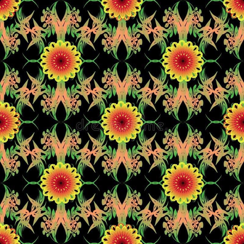 五颜六色的葡萄酒花卉华丽传染媒介无缝的样式 种族样式装饰春天夏天花背景 装饰 库存例证