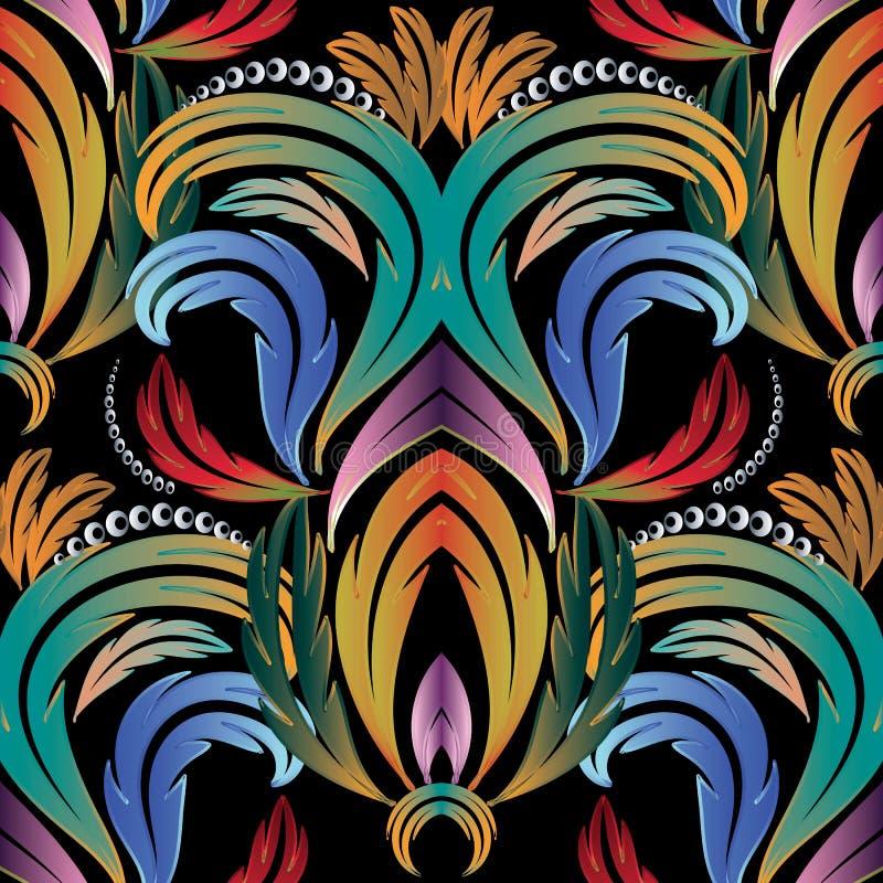 五颜六色的葡萄酒花卉无缝的样式 传染媒介锦缎backgrou 库存例证